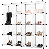 LANGRIA DIY Shoe Rack Cubby Shelving Plastic Storage Cubes Drawer Unit Organizer, DIY Modular Bookcase Closet System Cabinet without Doors for Clothes, Shoes, Toys (White)
