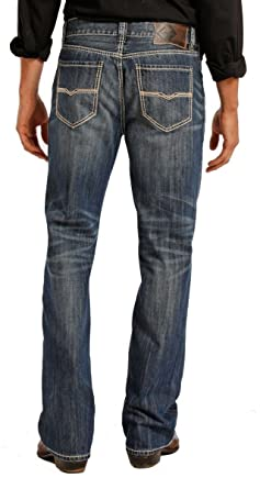 7697caaf Rock & Roll Denim Men's Relaxed Fit Double Barrel Straight Leg Vintage Wash Western  Jeans,