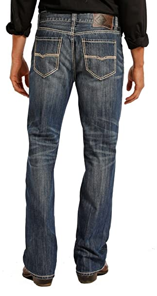 Rock & Roll Denim Mens Relaxed Fit Double Barrel Straight Leg Vintage Wash Western Jeans
