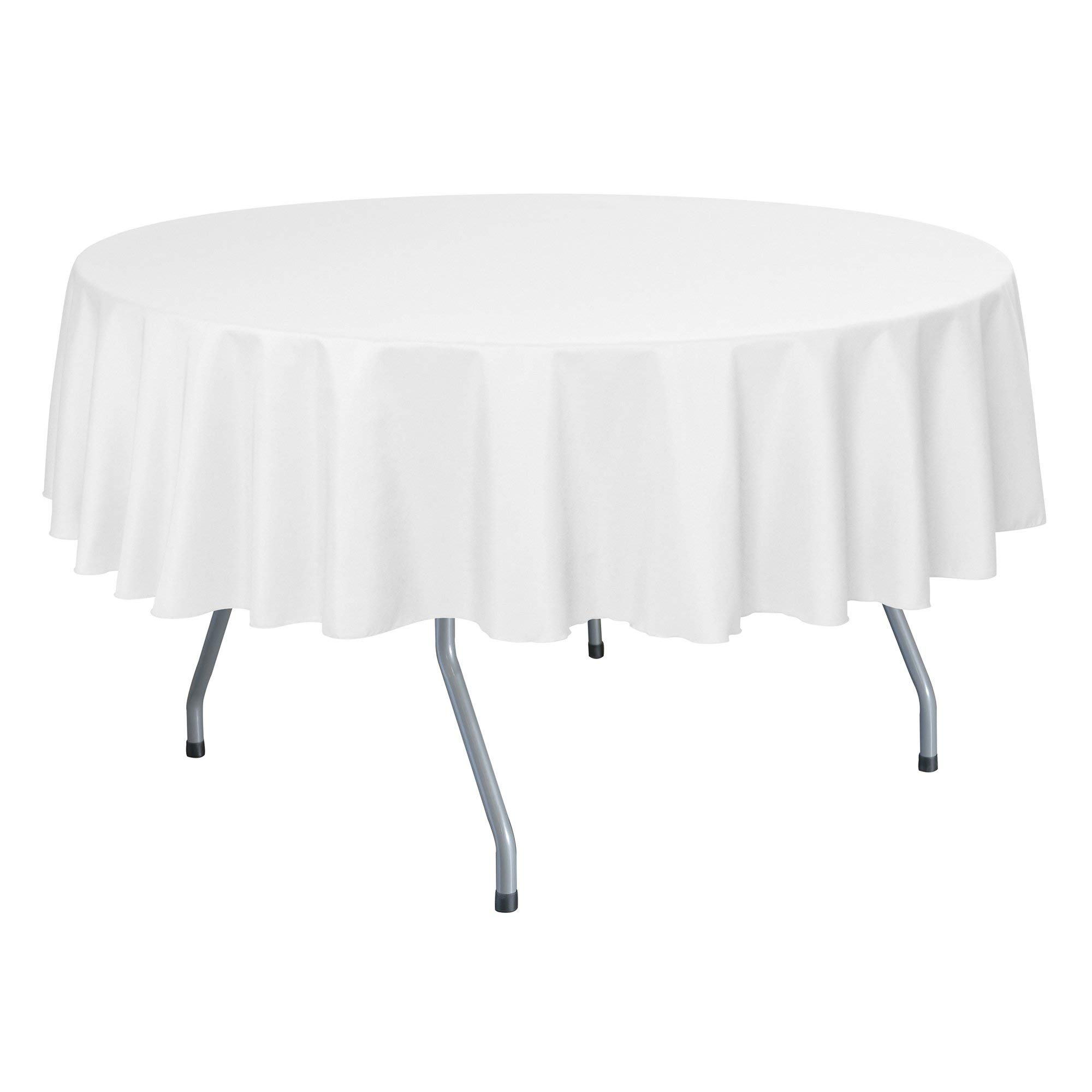 Ultimate Textile -10 Pack- 84-Inch Round Polyester Linen Tablecloth, White by Ultimate Textile