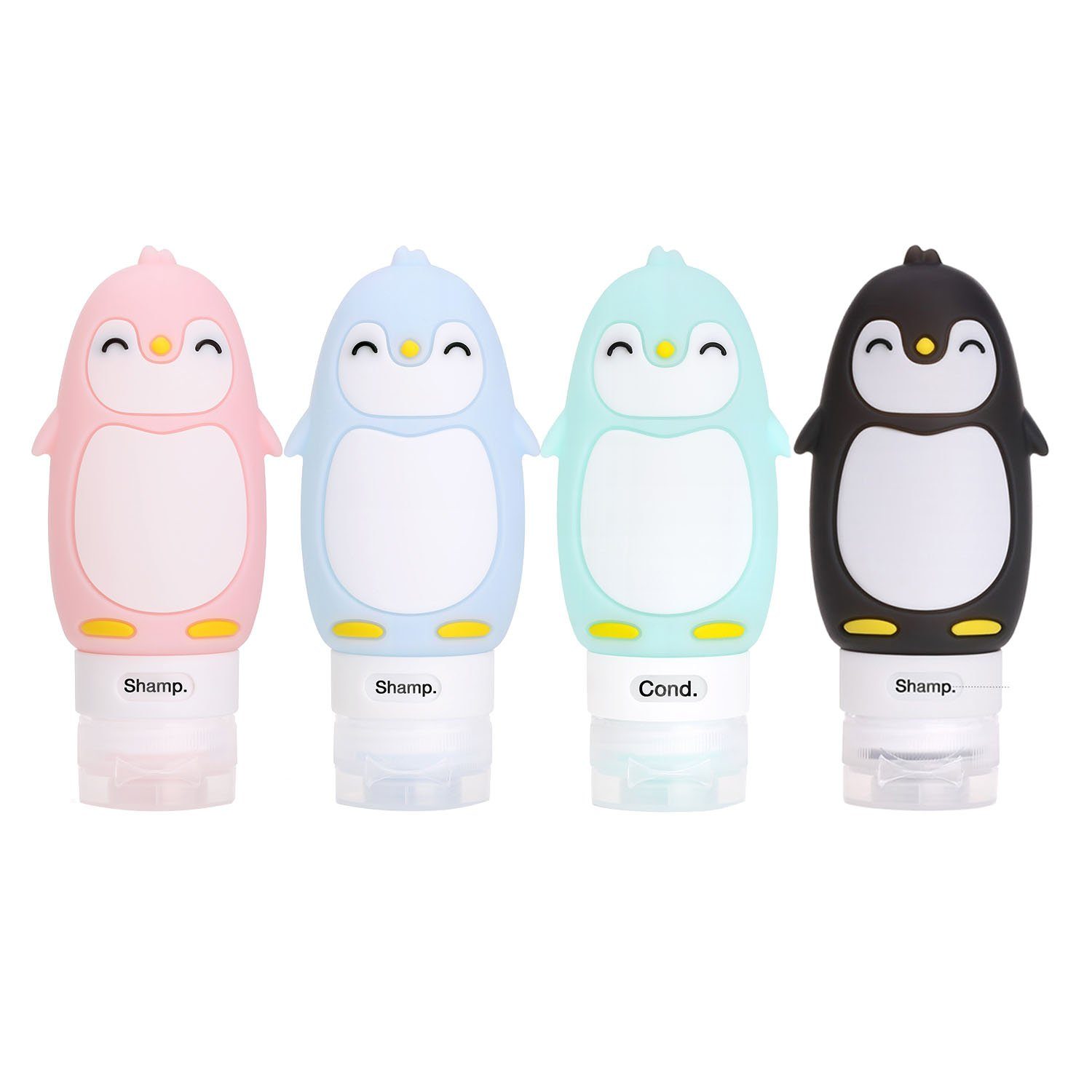 Cassiecy Travel Silicone Squeezable and Refillable Bottle Set with Cute Fashionable Cartoon(60ML) (Monster-3Pcs)