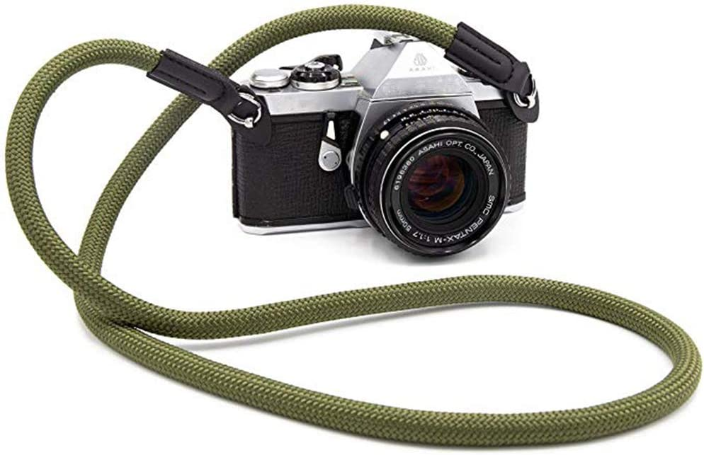 Eorefo Camera Strap Vintage 100cm Nylon Climbing Rope Camera Neck Shoulder Strap for Micro Single and DSLR Camera,Dark Green.