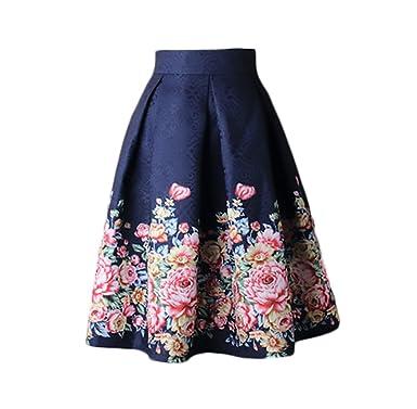 fd0b9bb1bc Falda Mujer Elegantes Cintura Alta Falda Plisada Moda Estampado Flores  Faldas Joven Bastante Vintage Faldas Midi Women  Amazon.es  Ropa y  accesorios