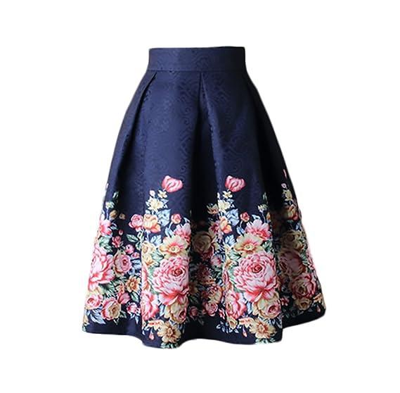 Falda Mujer Elegantes Cintura Alta Falda Plisada Moda Estampado ...