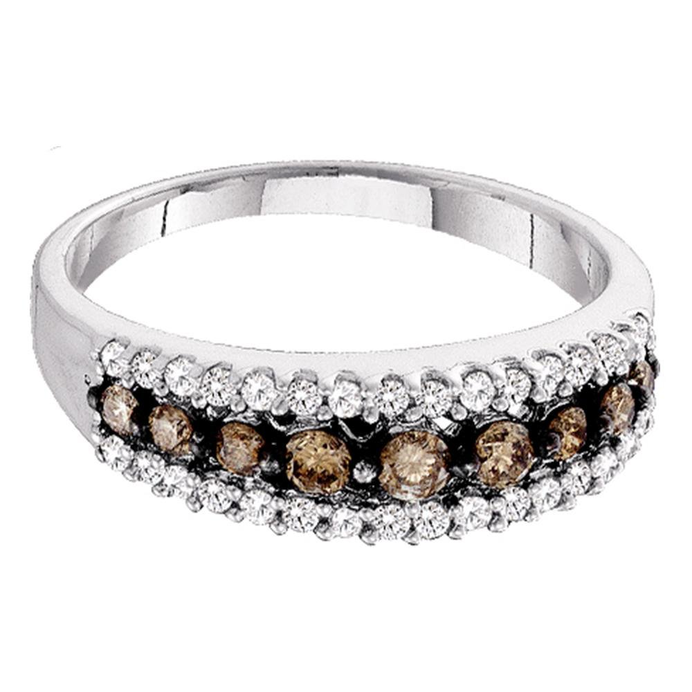 14kt White Gold Womens Round Cognac-brown Color Enhanced Diamond Band Ring 1/2 Cttw