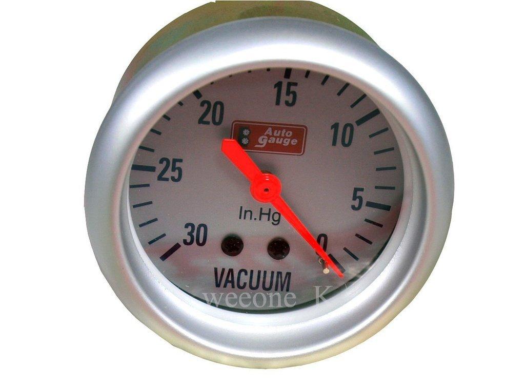 K1AutoParts 2.5'' Autogauge Gauge Vacuum Meter Face Color Silver