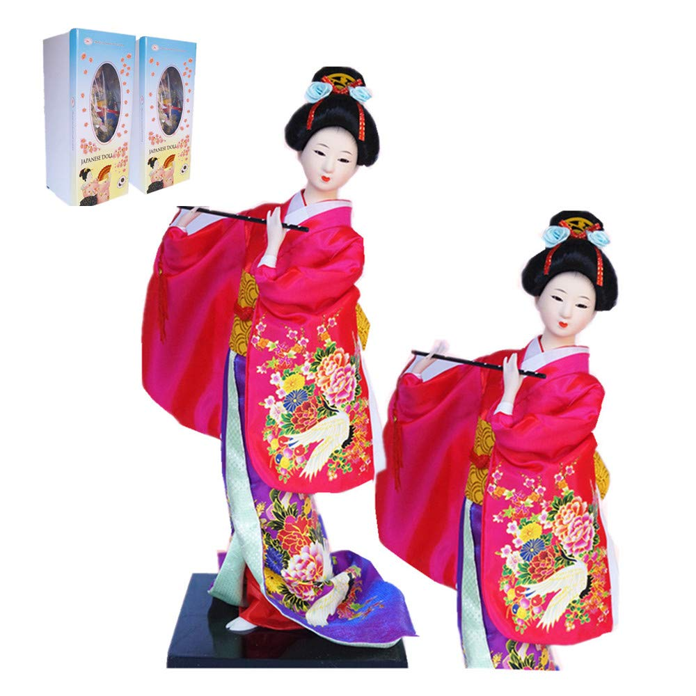 """JG.Betty 16"""" 43cm Japanese Folk Kimono Geisha Doll Maiko Doll Puppet Stand on Base for Decorative Home and Hotel Gifts Doll(16 Inch, Rose Red Doll JD022)"""
