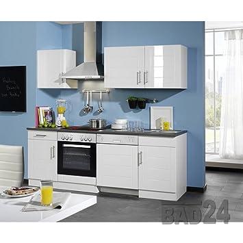 Küchenzeile 220 Nevasto Inkl E Geräte Spülmaschine Hochglanz Weiß