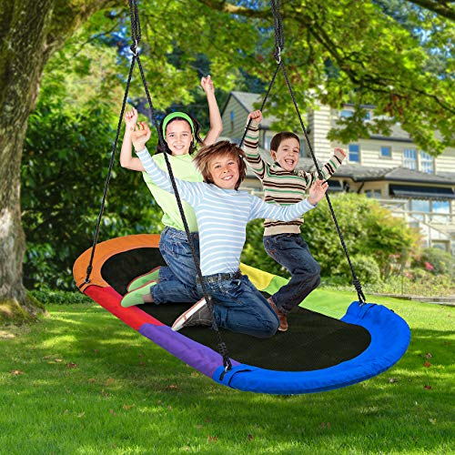 Sorbus Saucer Swing Surf – Kids Indoor/Outdoor Giant Oval Platform Swing Mat – Great for Tree, Swing Set, Backyard, Playground, Playroom – Accessories Included – Multi-Color Rainbow (Oval Surf Swing) by Sorbus (Image #4)