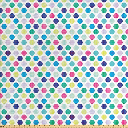 Lunarable Colorful Fabric by The Yard, Traditional Polka Dot Design in Multicolor Geometric Circles Contrasting Colors, Decorative Fabric for Upholstery and Home Accents, Multicolor (Dot Polka Upholstery)