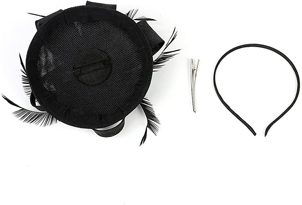 MEiySH Vintage Cocktail Feather Mesh Net Fascinator Feather Pillbox Hat with Veil Hair Clip Party Wedding