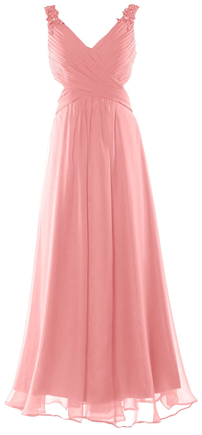 MACloth Women Straps V Neck Lace Chiffon Long Prom Dress Sexy Formal Ball Gown