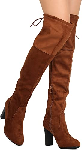 Qupid Womens s Faux Suede Knee High Chunky Heel Sweater Riding Boot Brown 7