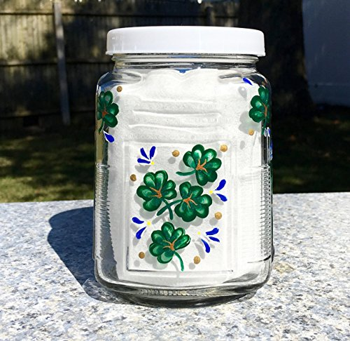 Glass Canister With Hand Painted Shamrocks and Blue Flowers
