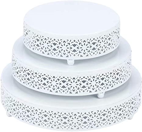 Amazon Com Vilavita 3 Piece Cake Stand Set Round Metal Cake Stands Dessert Display Cupcake Stands White Kitchen Dining