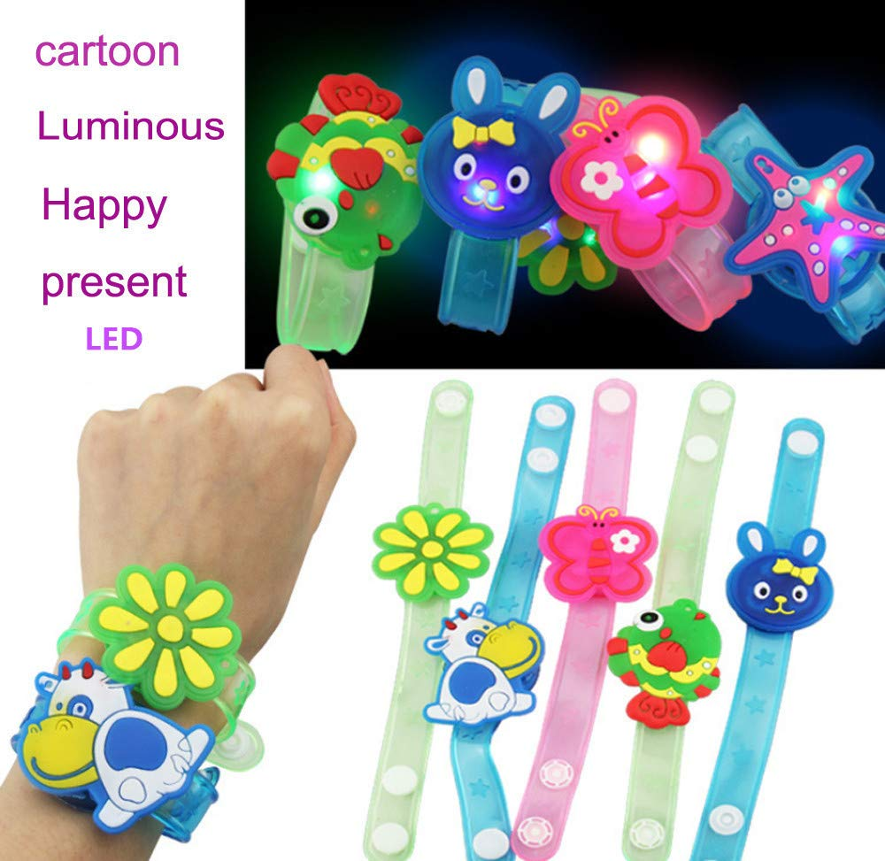 Wenini Kids Light Flash Toys Cartoon Animals Wrist Hand Take Dance Party Dinner Party Decor for Kids Gift Random (Random) by Wenini (Image #3)