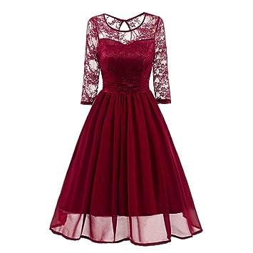 d7dab52ccbf6 Women's Vintage Lace Dress Three Quarter Sleeve Casual Summer Slim Evening  Party Wedding Work Dresses (