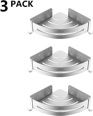 Homfa Estantes Ducha sin Taladrar de Baño Eestanterías para Ducha Espacial Triangular Carga de 35KG de Aluminio 3 Piezas