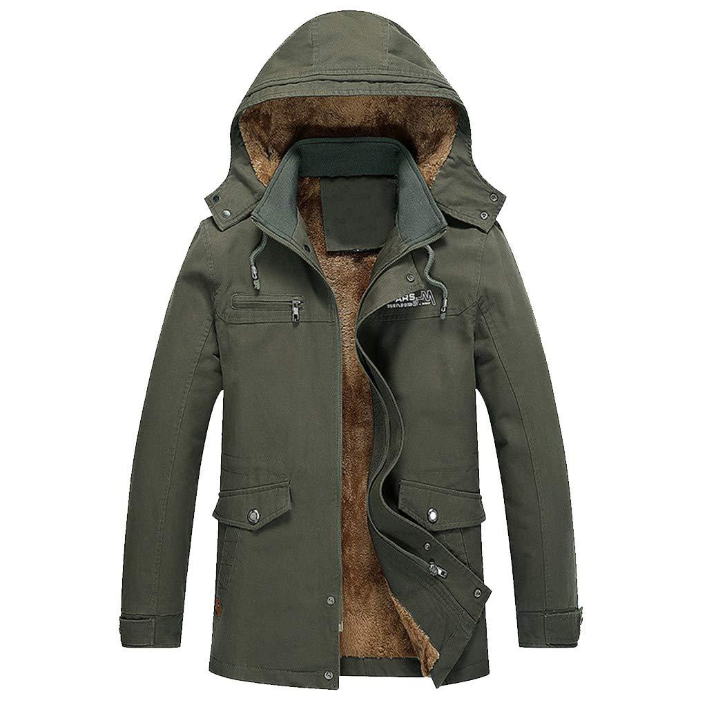 Mens Winter Coats Waterproof.Men Winter Casual Hoodie Medium Length Thickening Velvet Cotton Windbreaker Coat