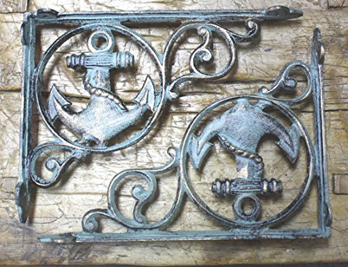 10 Cast Iron NAUTICAL ANCHOR Brackets Garden Braces Shelf Bracket PIRATES SHIP,Garden Braces Shelf Bracket RUSTIC,Wall Brackets Shelf Support for Storage by OutletBestSelling by New