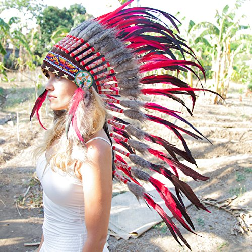 Novum Crafts Feather Headdress | Native American Indian Inspired | Red (Indian Chief Headdress For Sale)