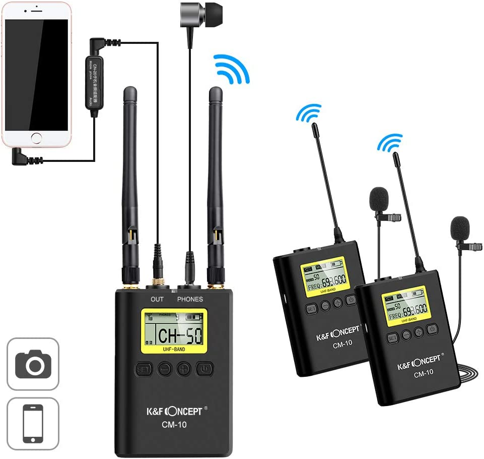 K&F Concept 100M Canales Micrófono Solapa Inalámbrico Lavalier de Doble Canal UHF con 2 Transmisores + 1 Receptor Canon Nikon DSLR GoPro Hero iPad Cámaravideo y Smartphone