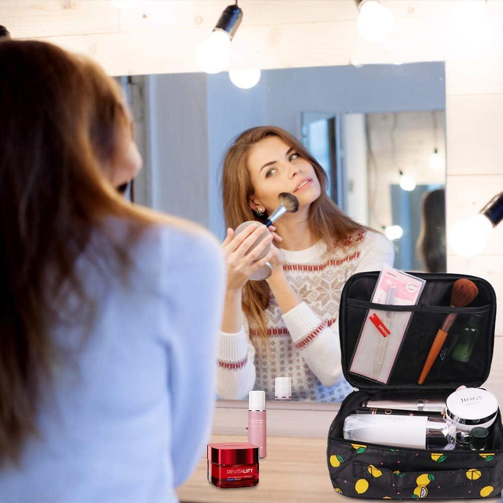 G-TASTE Professionnel Maquillage Organisateur Cas Portable Trousse De Toilette Dames Cosm/étique Sac /À Main Accueil Beaut/é Stockage Organisateur Citron noir