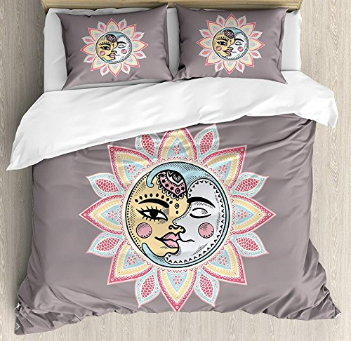 Sun 4 Pcs Bedding Set King Size, Sun and Moon with Faces Abstract Floral Pattern Foliage Leaves Design Ethnic All Season Duvet Cover Bed Set, Dimgrey ()