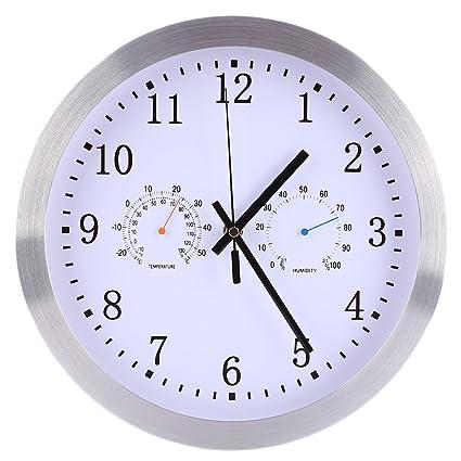 Seciie Funkwanduhr, 30CM Funk Wanduhr Quarz Funkuhr Lautlos mit Thermometer  und Hygrometer für Schlafzimmer Wohnzimmer Küche