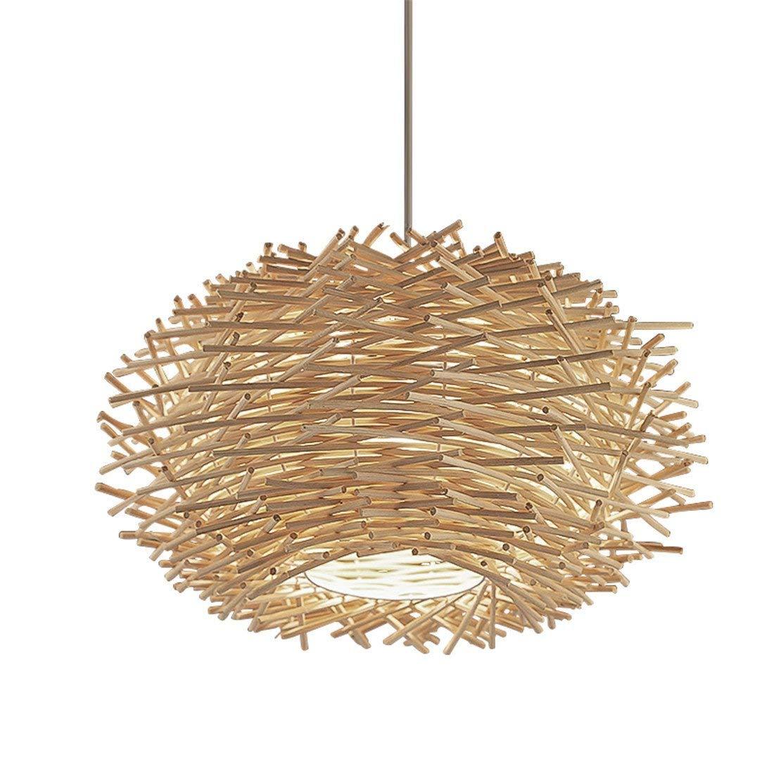 Kreative Bird'S Nest Bird'S Nest Clothing Store Coffee Bar Restaurant Rattan Hängeleuchten Holz Retro Mode Creative Light, 40 Cm