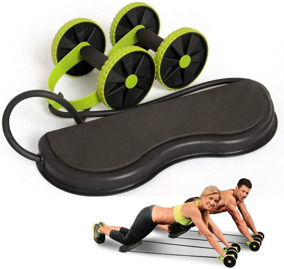 BOLLAER Abdominal Power Roll Trainer Waist Slimming Exerciser Core Double Wheel Fitness, Home Gym Equipment Fitness for Abdominal Core Strength Exercise