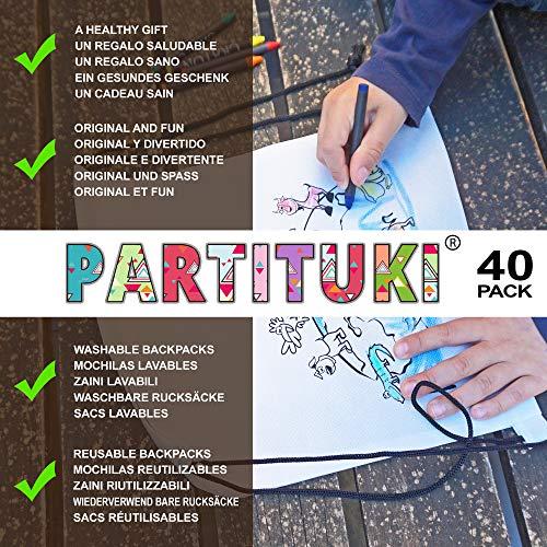 Piñatas de Cumpleaños Infantiles Partituki. 40 Mochilas de Colorear, 40 Sets de 5 Ceras de Colores y una Guirnalda de 10 m. Ideal para Detalles ...