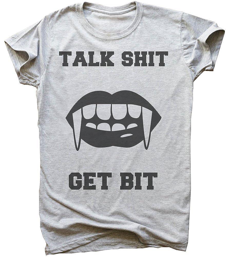 IDcommerce Talk Sht Get Bit Woman Lips with Vampire Teeth Mens T-Shirt