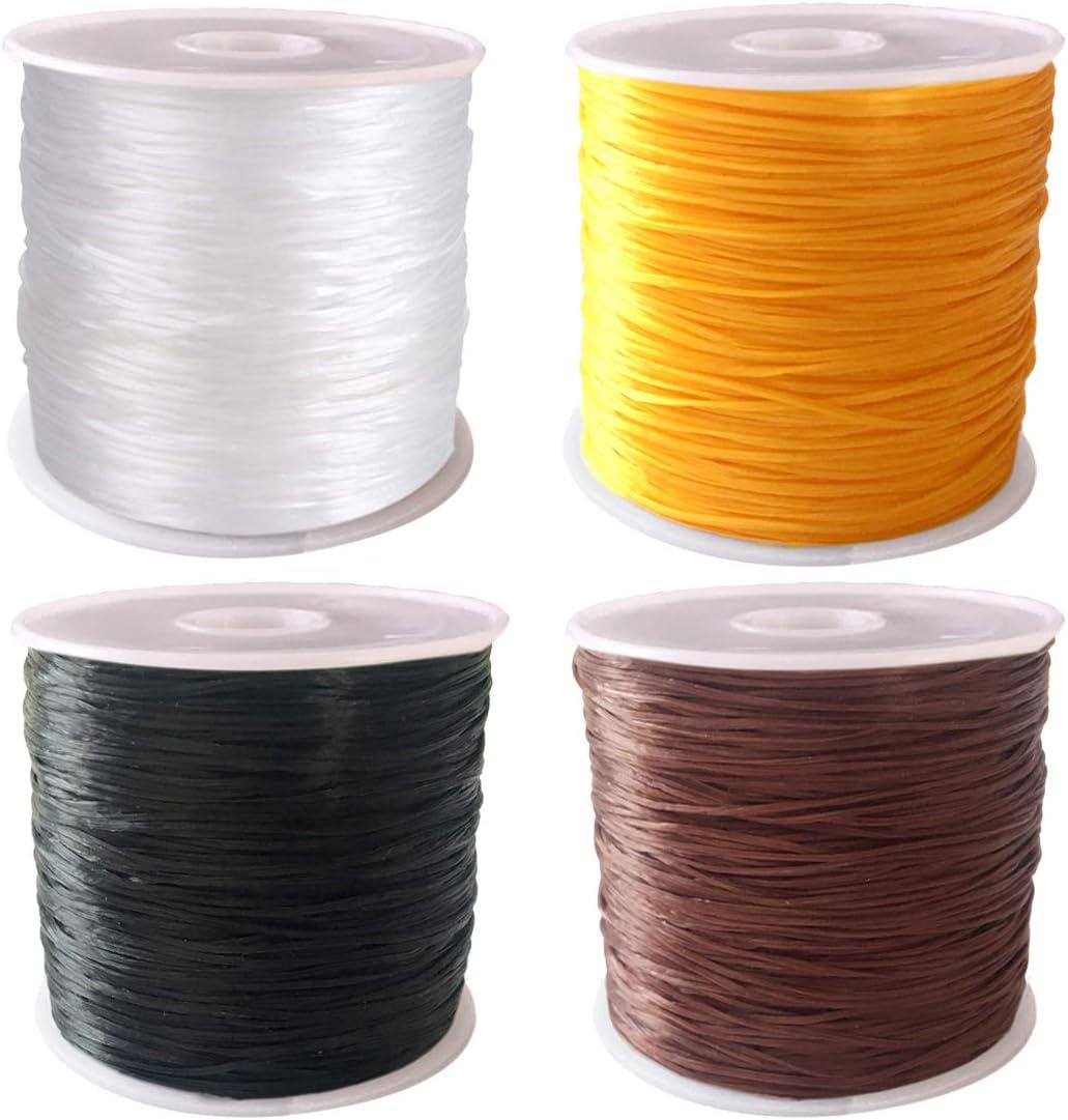 CKANDAY 4 Cuerdas elásticas para Pulseras, de la Marca, 0,8 mm a 50 m, para Pulseras, Collares, Abalorios y bisutería, Color Negro, Blanco, marrón y Dorado