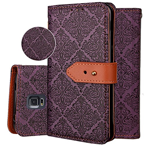 Galaxy S5 Wallet Case,S5 Purse Case,Auker 3 Card Holder Vintage Book Leather Wallet Case Magnetic Closure Folio Flip Full Body Cover with ID License Card Slot&Strap for Samsung Galaxy S5 (Purple) (Purse Case For Samsung Galaxy S5)