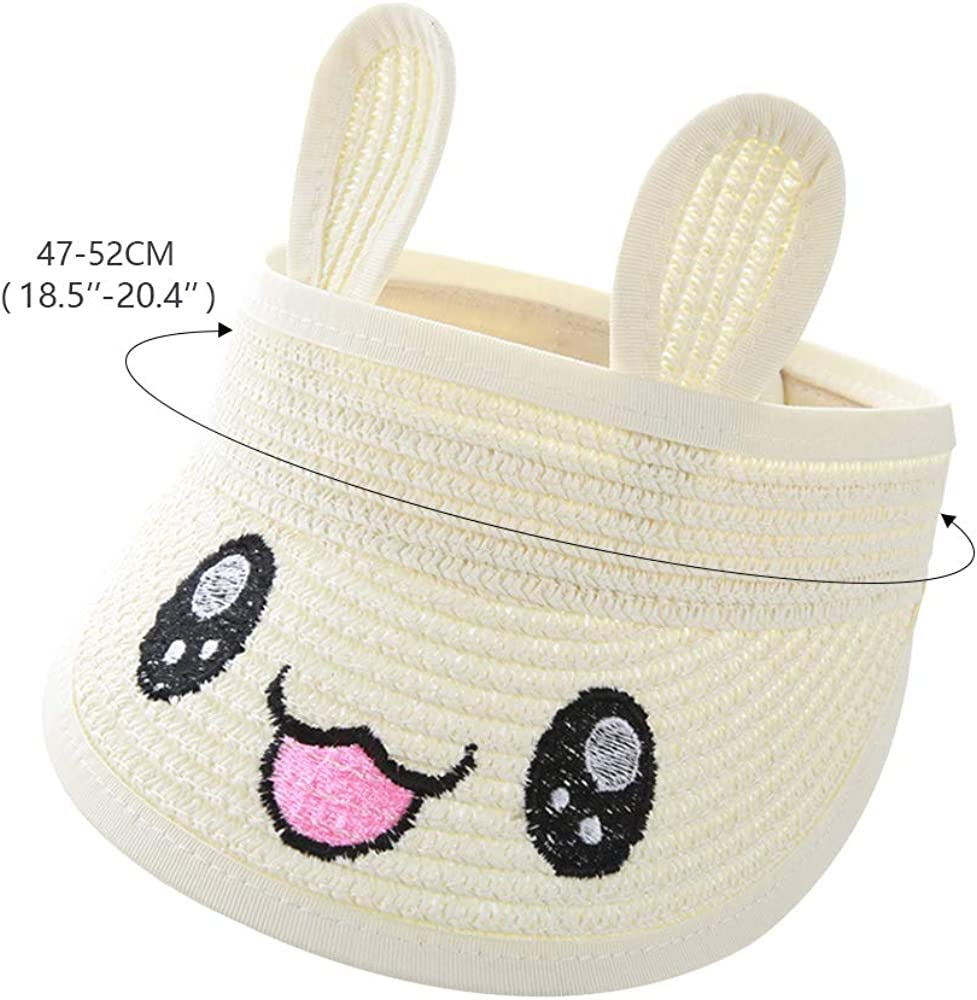 QTKJ Kids Anti-UV Straw Sun Hat Beach Hat with Cute Rabbit Ears Summer Sun Protection Visor Hat for Girl Boys White