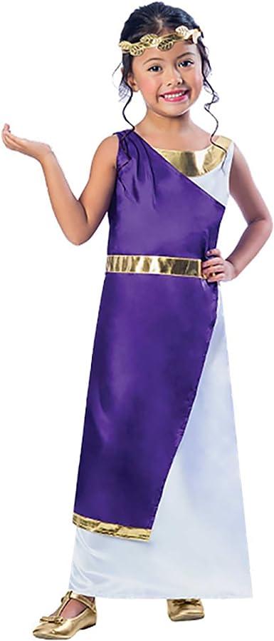 enfant fille déesse grecque Toge Romaine Déguisement égyptien avec Laurel