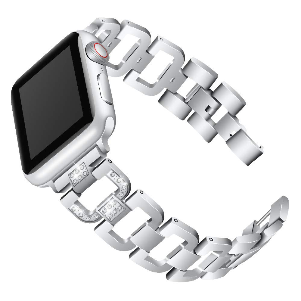 elecfan Bling Band Compatible iWatch Series 1 Band, 42mm Watch Straps for iWatch Series 3, Easy to Removetable and Install Rhinestone Stainless Steel Wristband Strap for iWatch Series 3/2/1, Silver by elecfan