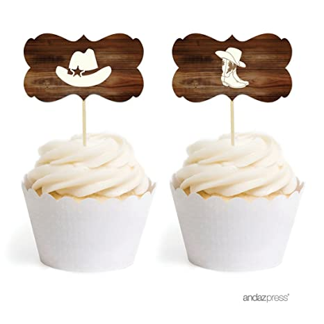 Andaz Press Birthday Cupcake Toppers DIY Party Favors Kit, Cowboy Hat and Boots Boy, Double-Sided,...