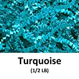 Crinkle Cut Paper Shred Filler (1/2 LB) for Gift Wrapping & Basket Filling - Turquoise | MagicWater Supply