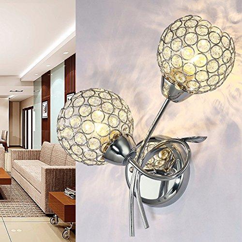 Ehime Crystal Wandleuchten LED Wandleuchte Schlafzimmer Bett Wohnzimmer Hintergrund Wandleuchte Wandleuchte Zhongshan silber Dual Head
