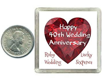 Lucky Sixpence Coin Ruby 40th Wedding Anniversary Gift Great