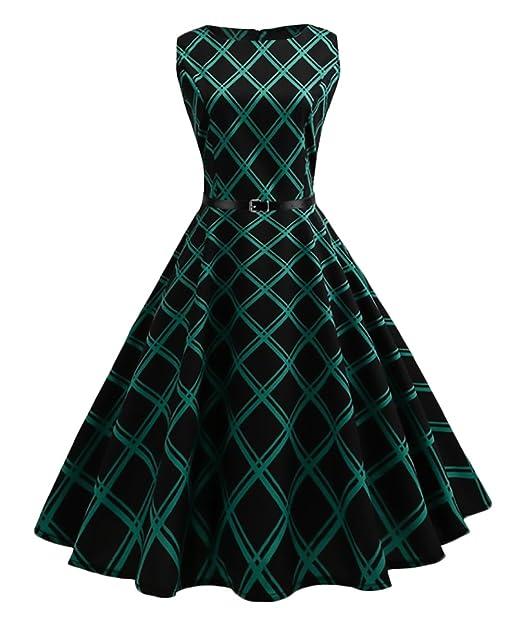 Vestido Coctel Mujer Hasta La Rodilla Años 50 Vintage A Cuadros Audrey Hepburn Vestido Verano Sin