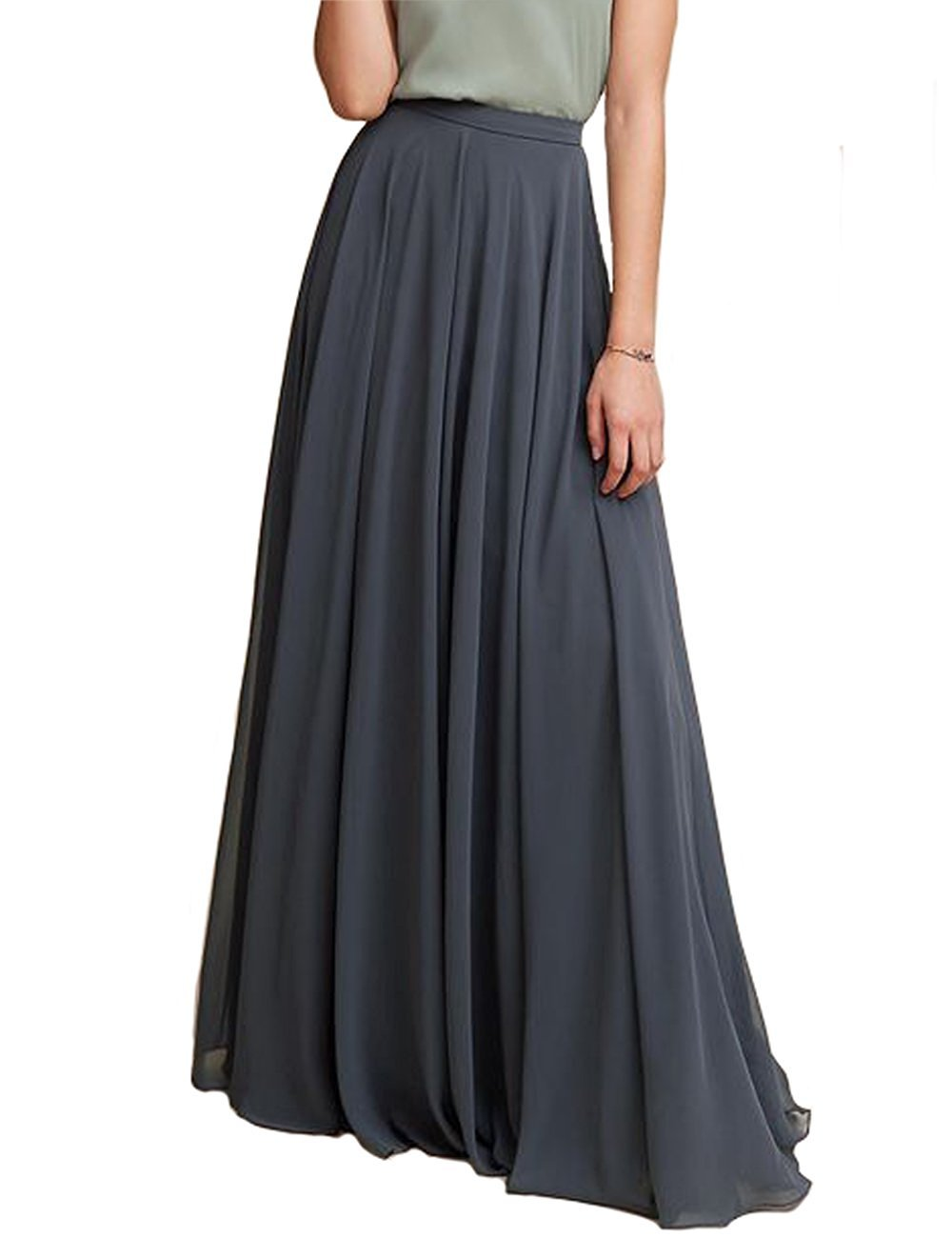 Omelas Women Long Floor Length Chiffon High Waist Skirt Maxi Bridesmaid Pary Dress (White, XXXL)