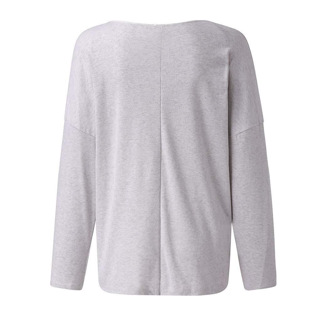 Camiseta Mujer Bordado Cartas Blusa Informal con Cuello en V y Manga Larga Camisa Suelta Casual Gris XXL: Amazon.es: Ropa y accesorios