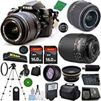 Nikon D3200 - International Version (No Warranty), 18-55mm f/3.5-5.6 DX VR, Nikon 55-200mm f4-5.6G ED DX Nikkor, 2pcs 16GB Memory, Case, Wide Angle, Telephoto, Flash
