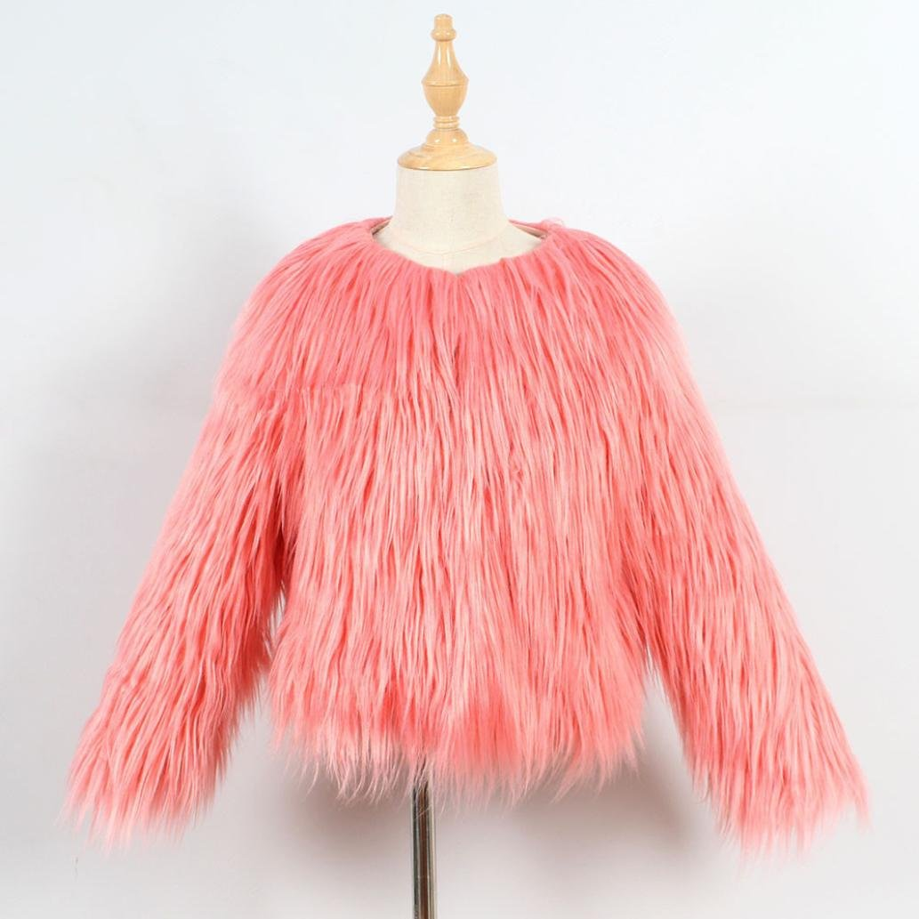 LNGRY Kids Baby Girls Autumn Winter Faux Fur Coat Jacket Thick Outwear Clothes