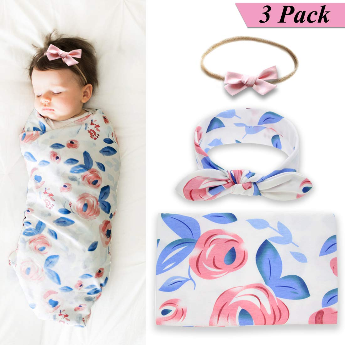 Newborn Baby Swaddle Blanket and Bow Headband Set Baby Receiving Blankets Baby Shower Gift (Blue)