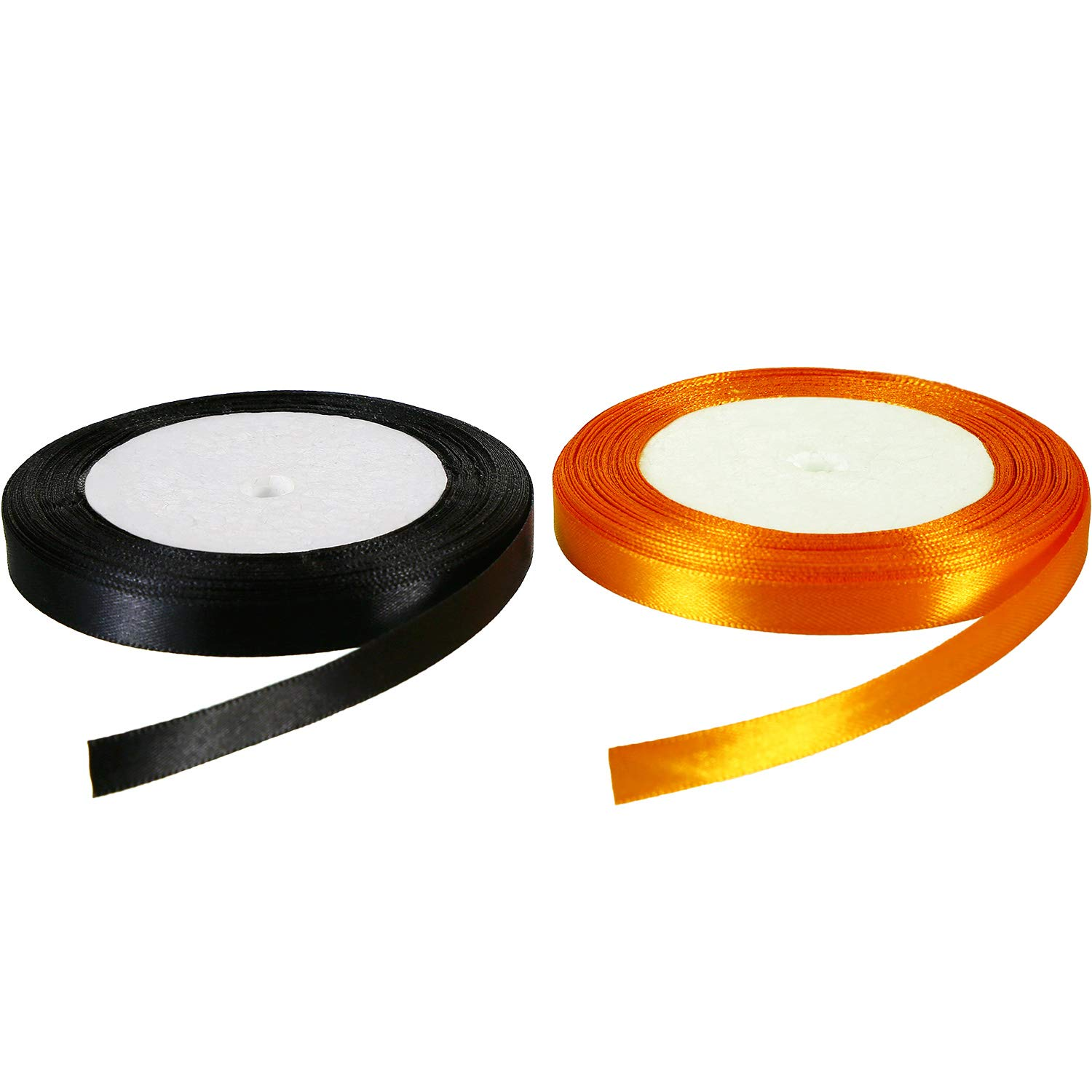 50 Yards 10 mm Wide Halloween Black and Orange Satin Ribbon for Gifts Wrap Balloons Decoration, 25 Yards Each Color Jovitec
