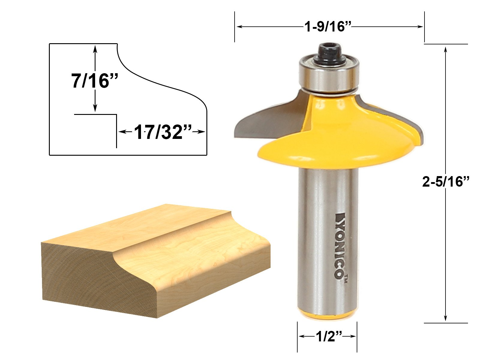 Yonico 12162 Drawer and Cabinet Door Front Edging Medium Ogee Router Bit 1/2-Inch Shank
